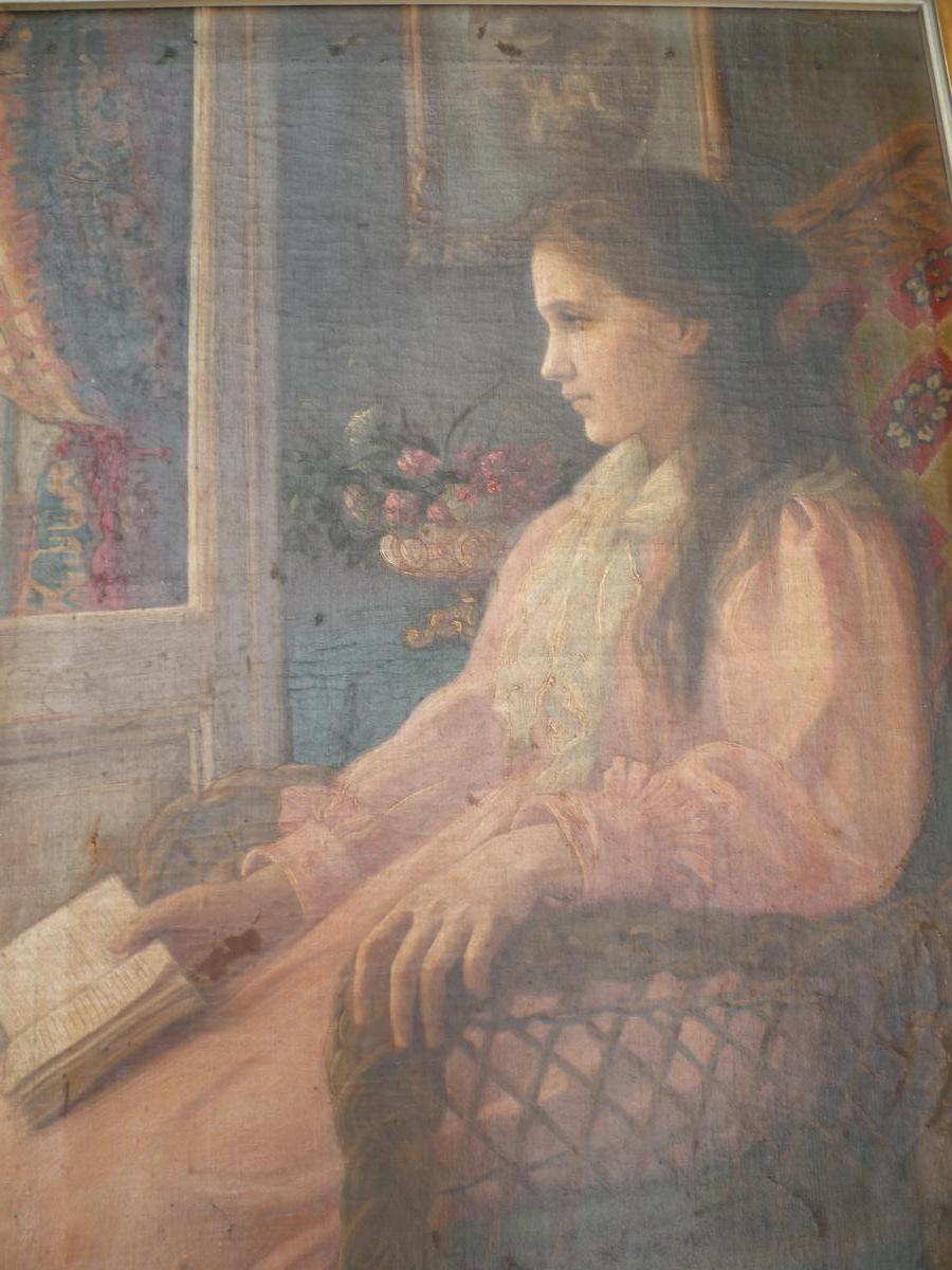 Louise Matheson-Daël (1871-1945) Jeune fille à sa lecture