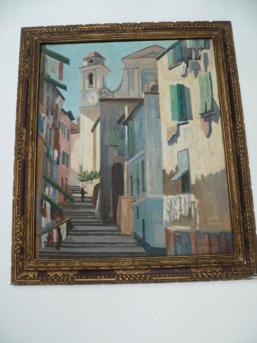 P. Maillard. Italian Village. Oil On Canvas 1930.