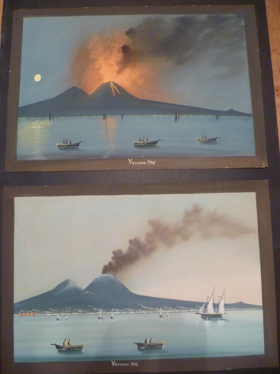 Deux Grandes Gouaches Napolitaines : Le Vésuve Éruption de 1906