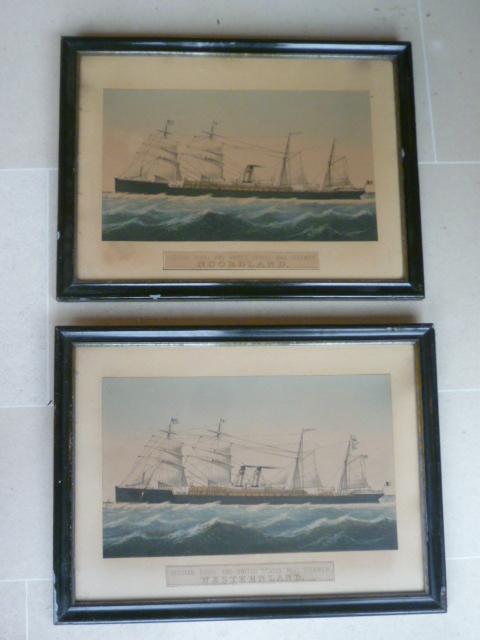 Paire de lithographies de la Red Star Line