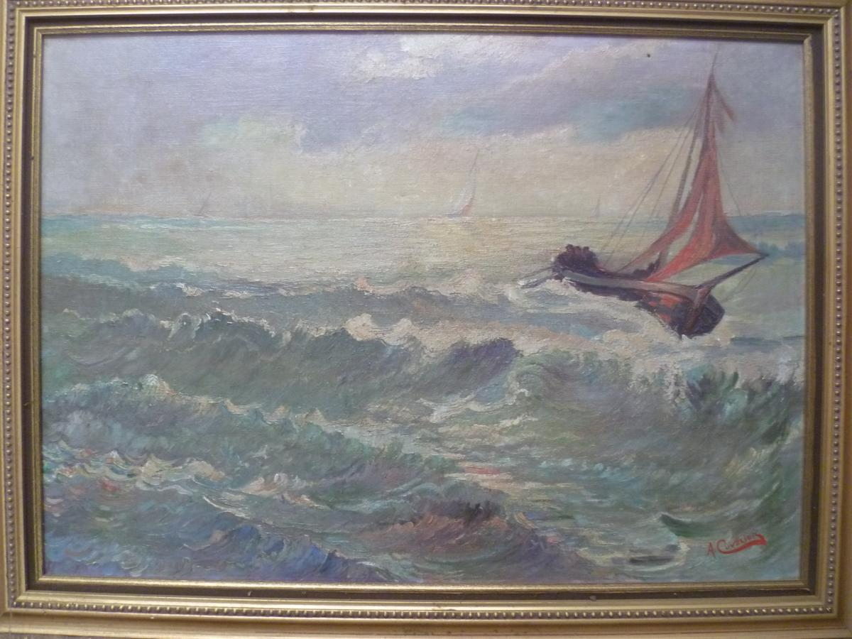A. Cuvelier Marine Oil On Canvas-photo-2