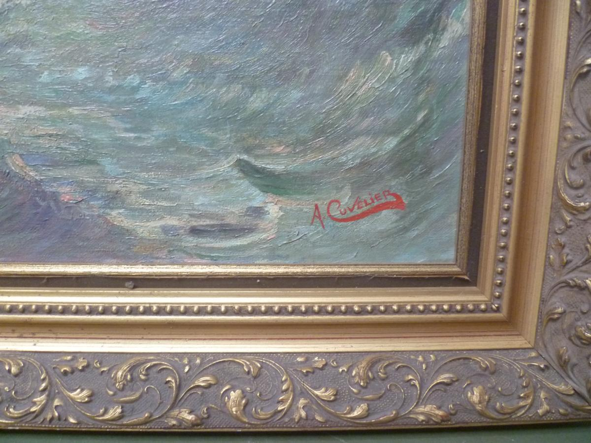 A. Cuvelier Marine Oil On Canvas-photo-3