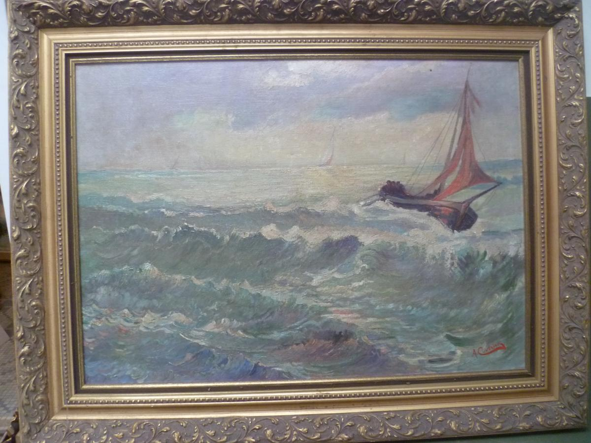 A. Cuvelier Marine Oil On Canvas-photo-4