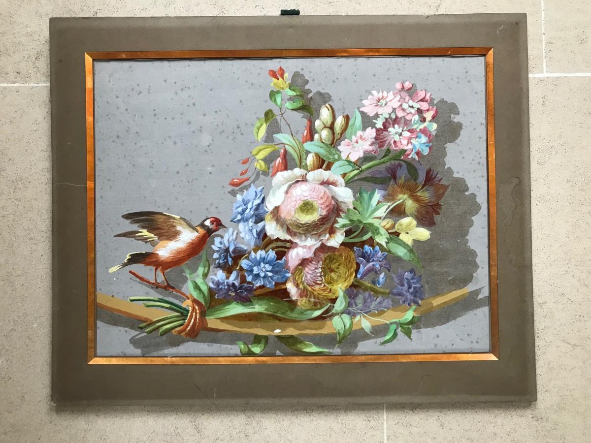Gerbe de fleurs à l'oiseau - Aquarelle gouachée
