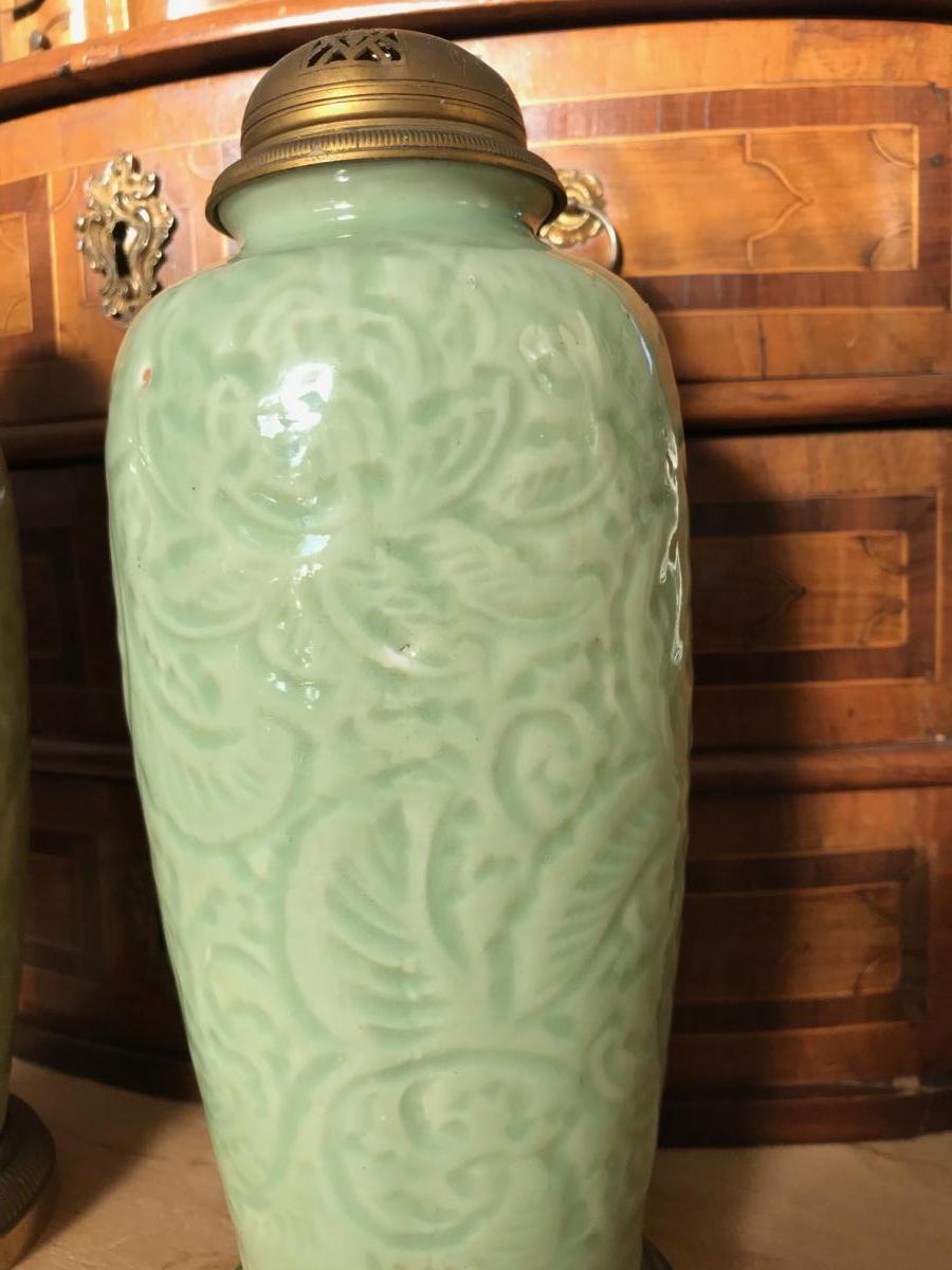 Chine - Paire De Vases Brûle-parfum En Porcelaine Celadon-photo-3