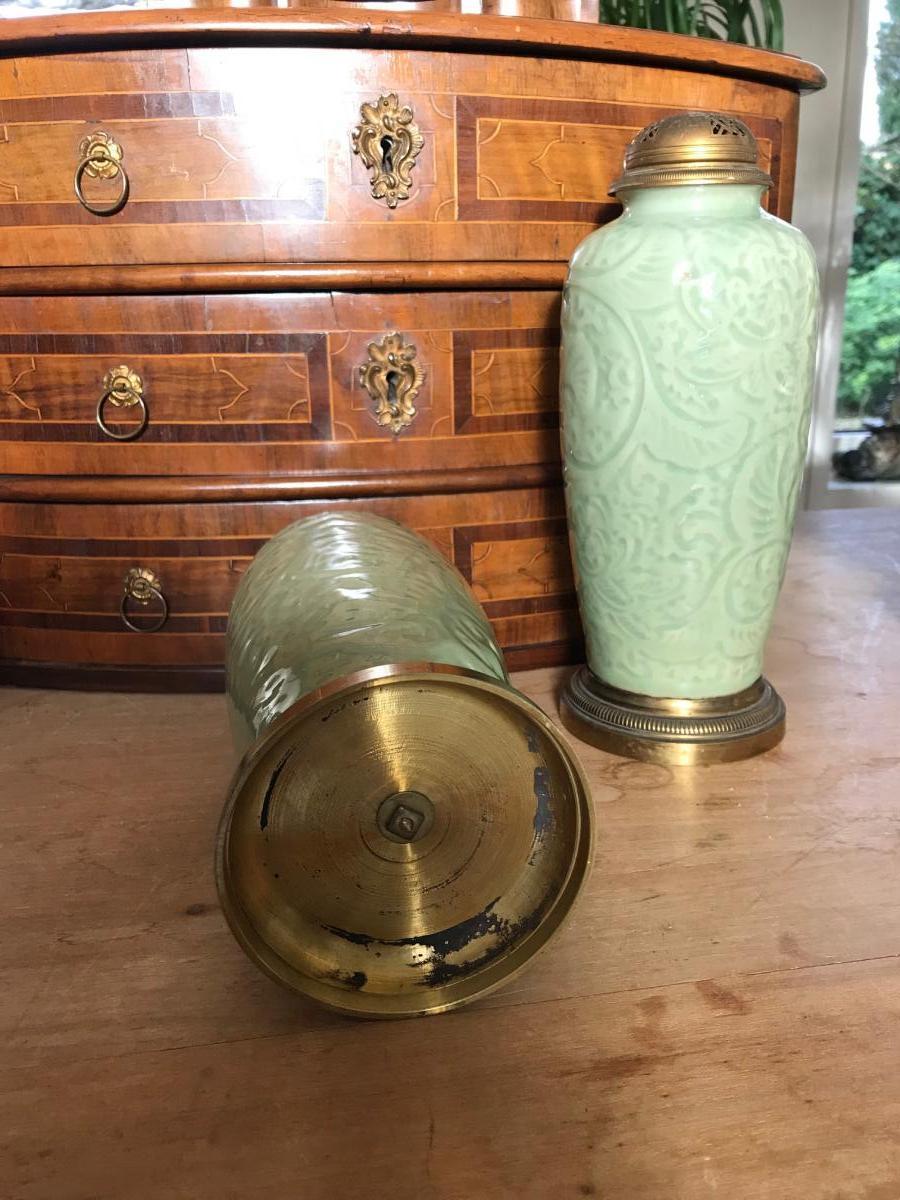 Chine - Paire De Vases Brûle-parfum En Porcelaine Celadon-photo-4