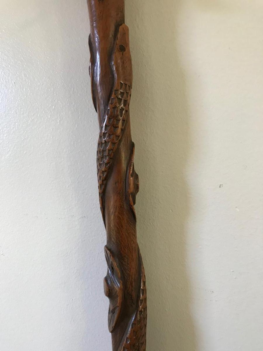 Canne d'Art Populaire Au Serpent
