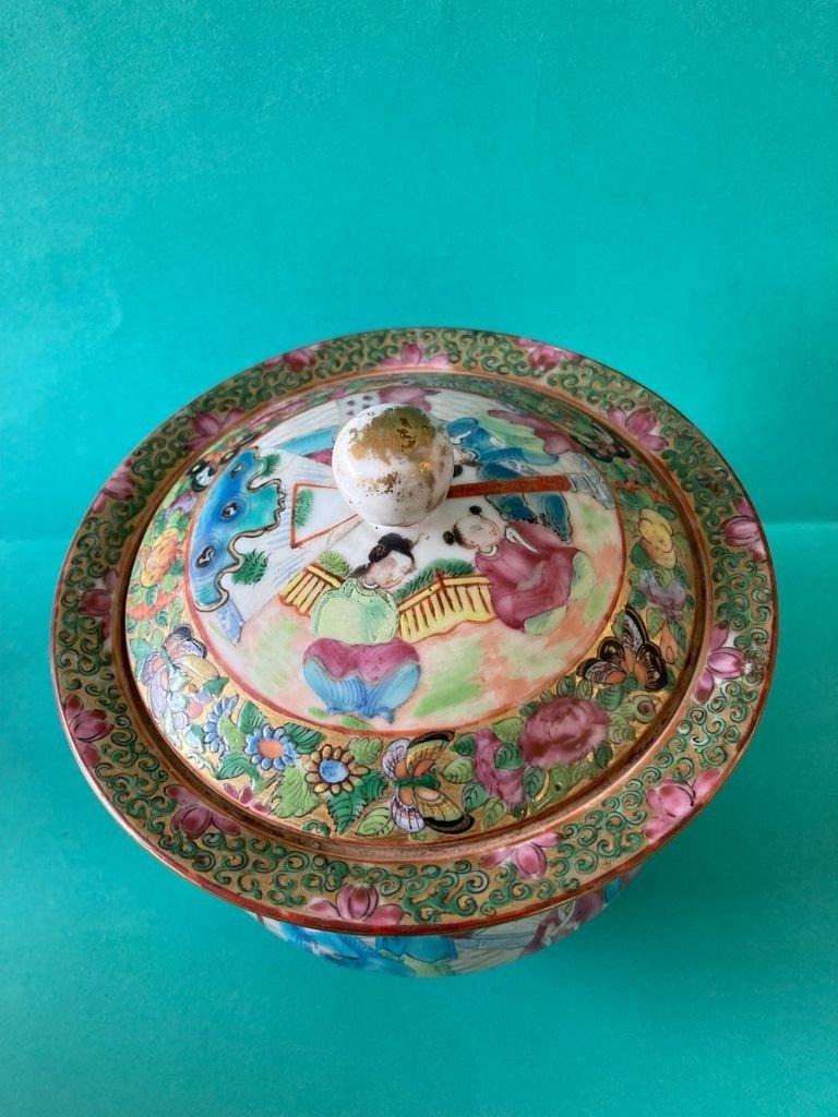 Chine Canton - Sucrier En Porcelaine-photo-2