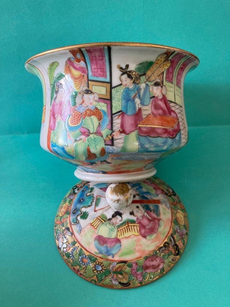 Chine Canton - Sucrier En Porcelaine-photo-3