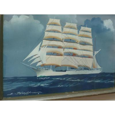 Clipper Gouache Signed Haffner