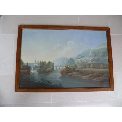 Switzerland Grande Gouache Landscape XIX Century