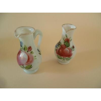 Pair Of Burettes In Opaline Soapy Early Nineteenth