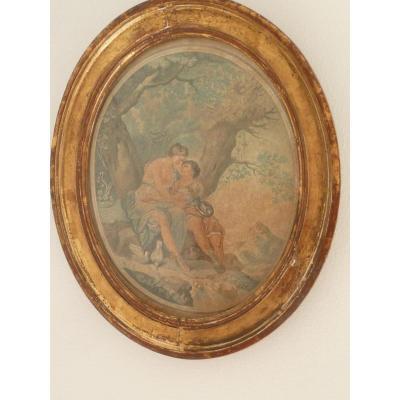 Les Deux Amoureux Estampe et Cadre Ovale  fin XVIIIe
