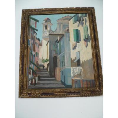 P. Maillard. Village italien. Huile sur toile des années 1930.