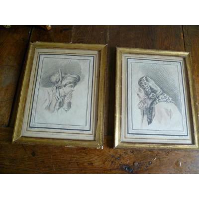 Paire de gravures signées Demarteau (1722-1776)