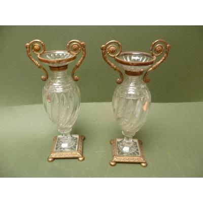 Paire de vases Empire en cristal