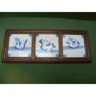 Three Delft Tiles From To Monsters Marine Epoque Seventeenth