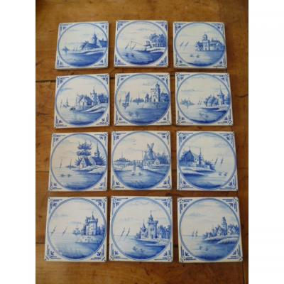 Lot From 12 Earthenware Tiles In Delft XIXth Century