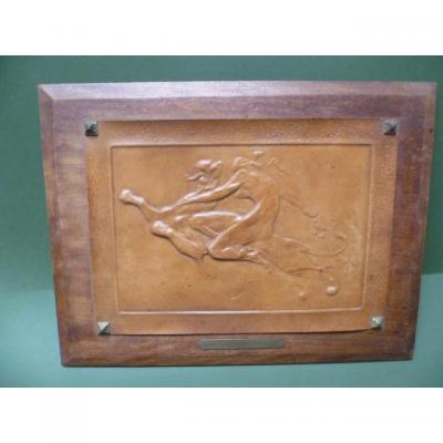 Julien Dilens (1849-1904) Fortuna Leather Stamped On Panel D Mahogany