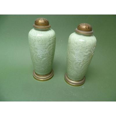 Paire De Vases Brûle-parfum Chine Céladon
