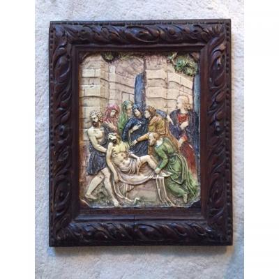 Descente de Croix en terre cuite vernissée, Manerbe ou Le Pré d' Auge