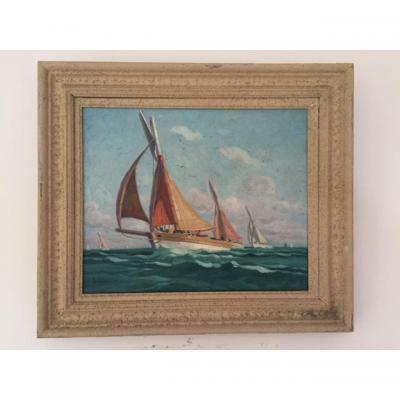Paul André Jean Eschbach (1881-1961) Bateaux de pêche