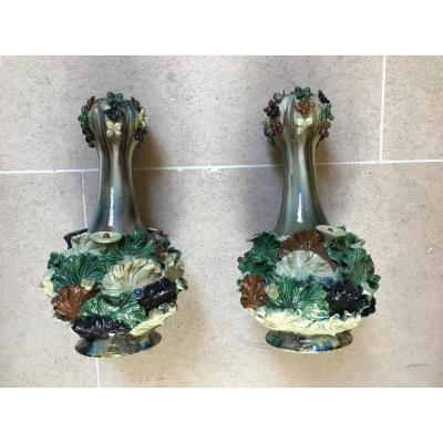 Paire De Vases Majoliques Attribués à José Alves Cunha .portugal Circa 1880