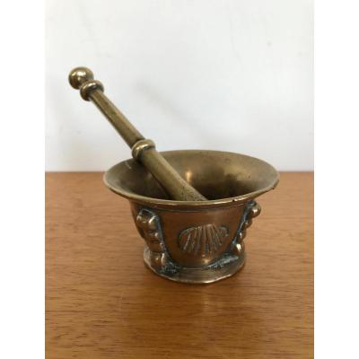Small Bronze Mortar Decorated With Scallops