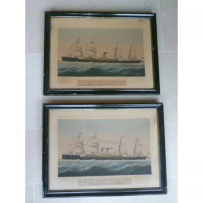 Pair Of Lithographs Of The Red Star Line