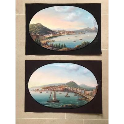 Vue de Naples. Paire de gouaches napolitaines