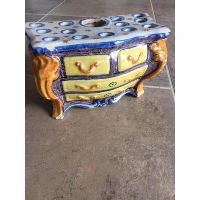 Nevers Small Earthenware Chest Of Drawers Nevers