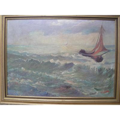 A. Cuvelier Marine Oil On Canvas