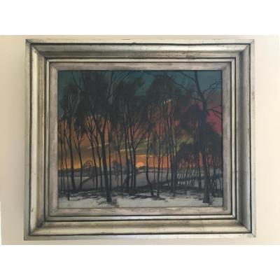J. Vandemaelle  Lever de soleil à travers les arbres