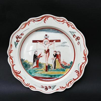 Fine English Earthenware Plate With Crucifixion Decoration