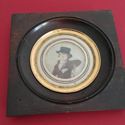 Miniature mi-XIXe - Jeune homme au chapeau