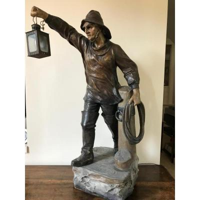 Auguste Otto - Grand pêcheur en terre cuite