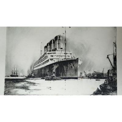 Cunard R.M.S. Aquitania - Lithographie d'Henri Frank Mason