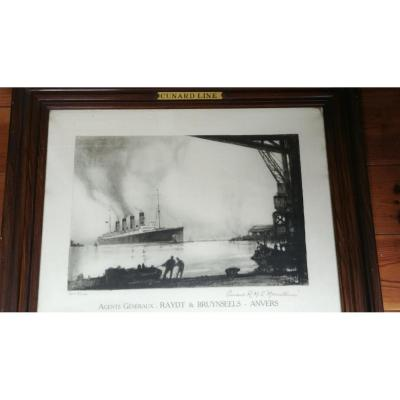 Cunard R.M.S.  Mauretania - Lithographie d'Henri Frank Mason