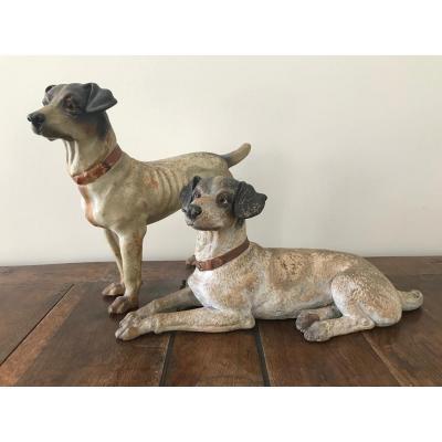 Couple de chiens en terre cuite