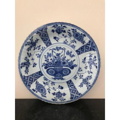 Chine - Plat En Porcelaine Blanc Bleu