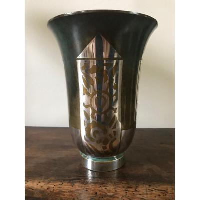 Christofle - Vase en dinanderie métal argenté