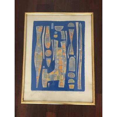 Alfred Manessier - Composition Sur Fond Bleu