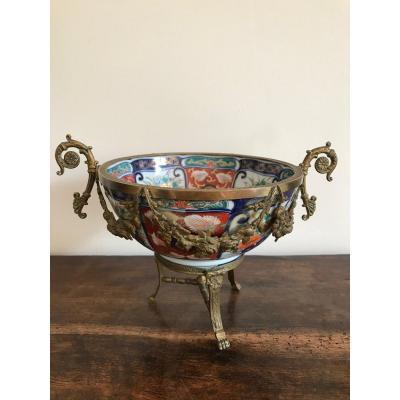 Coupe En Porcelaine Imari Montée Sur Bronze