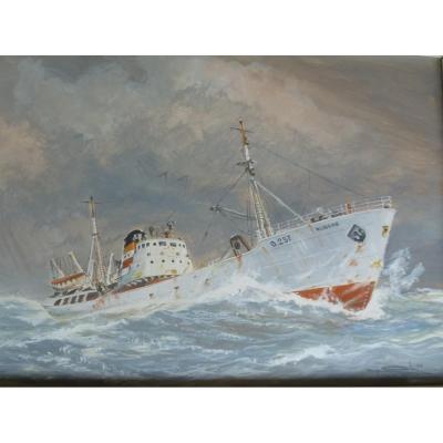 Cargo Par Gros Temps - Aquarelle Gouachée