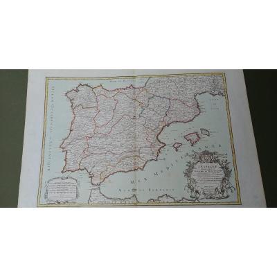 Carte géographique XVIIIe L'Espagne