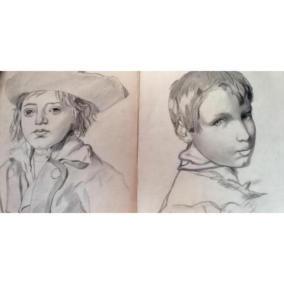 Deux Dessins d'Enfant Fin XIXe