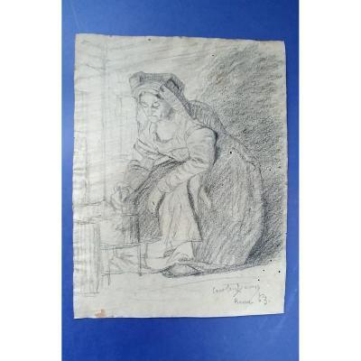 Carolus-duran (1837-1917) - Paysanne Au Fourneau