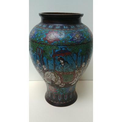 Chine - Vase En Bronze Et émaux Cloisonnés