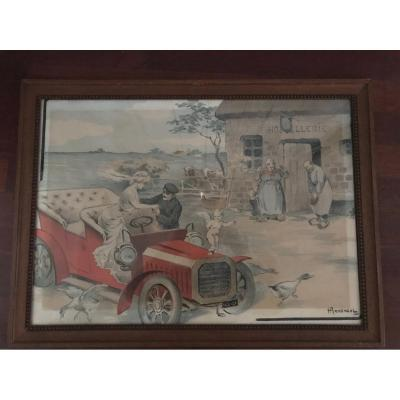 Lithographie Premières Automobiles