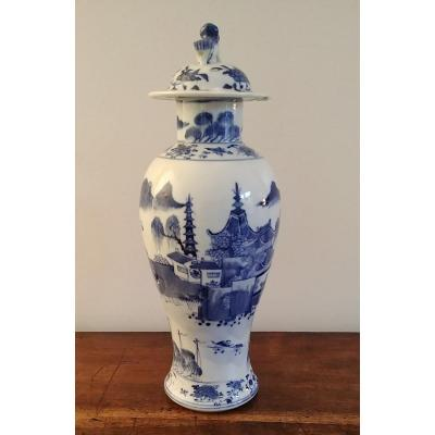 China - White Blue Porcelain Covered Vase
